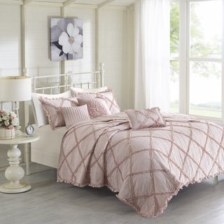 Madison Park Wendy Pink Ruffled Cotton Percale 6-piece Coverlet Set