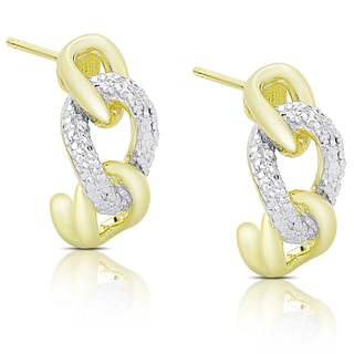 Finesque Gold Over Silver Diamond Accent Intertwine Half Hoop Earrings