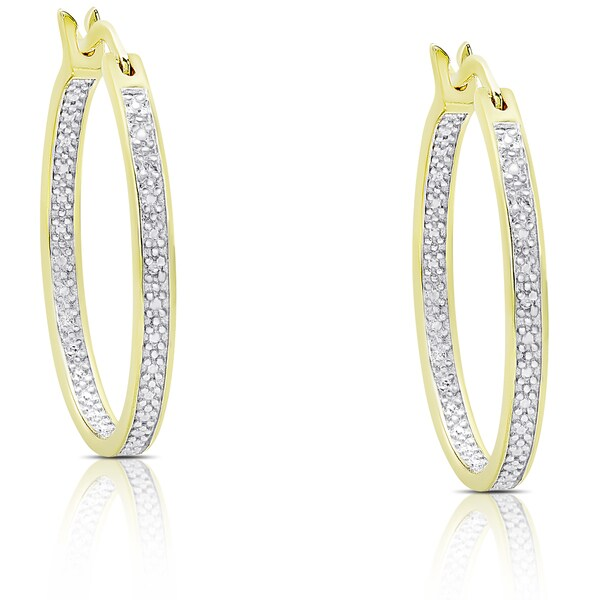 Finesque Gold Over Silver Or Sterling Diamond Accent Hoop Earrings