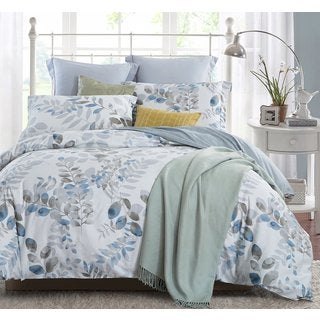 Word of Dream 3-piece Cotton Floral Leaves Duvet Cover Set