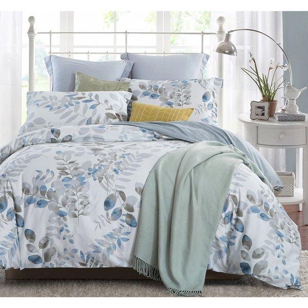 Word of Dream 3-piece Cotton Floral Leaves Duvet Cover Set