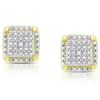 Finesque Gold Over Sterling Silver Diamond Accent Square Stud Earrings (I-J, I2-I3)