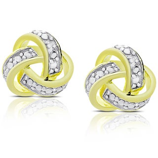 Finesque Gold Over Sterling Silver Diamond Accent Love Knot Stud Earrings (I-J, I2-I3)