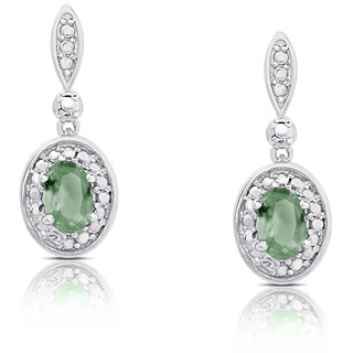 Dolce Giavonna Sterling Silver Emerald Oval Dangle Earrings