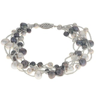 Pearls For You 14K Gold Black/Grey Freshwater Pearl Bracelet