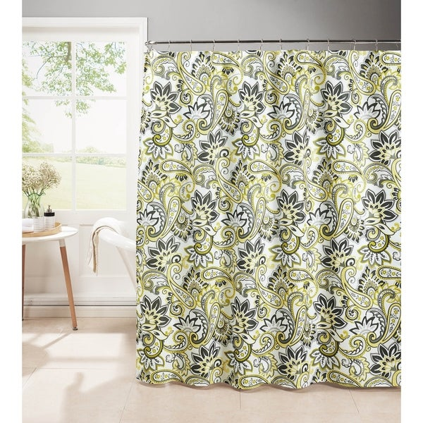 Creative Home Ideas Diamond Weave Textured 13-Piece Shower Curtain with Metal Roller Hooks in Ruiselede Lemon Drop