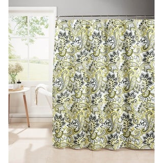 Creative Home Ideas Diamond Weave Textured 13-Piece Shower Curtain with Metal Roller Hooks in Ruiselede Lemon Drop
