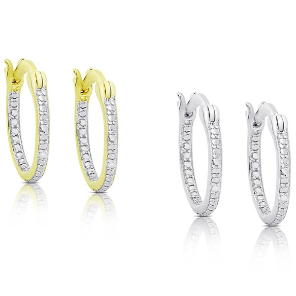 Finesque Gold Over Silver or Sterling Silver Diamond Accent Hoop Earring Set