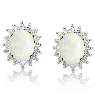 Dolce Giavonna Gold Over Sterling Silver Oval Opal and White Topaz Stud Earrings