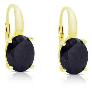 Dolce Giavonna Gold Over Sterling Silver Sapphire Leverback Earrings