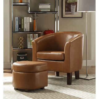 Laguna Brown Faux Leather Club Chair with Ottoman