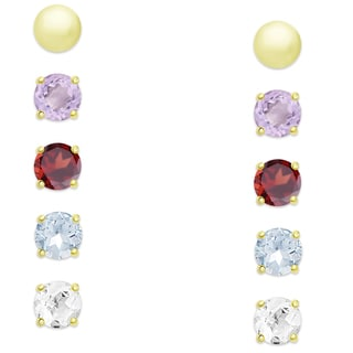 Dolce Giavonna Gold Over Sterling Silver Gemstone 5-pair Stud Earring Set