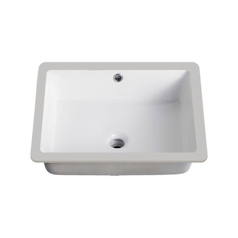 KBF & MORE Vitreous China 20-inch x 16-inch Rectangle Undermount Bathroom Sink - 19.5x15.5