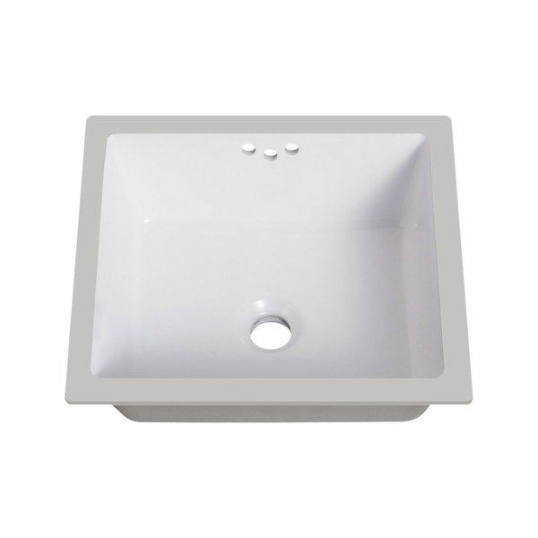 Lenova White Vitreous China Clay 16 Inch X 15 Rectangle Bathroom Sink