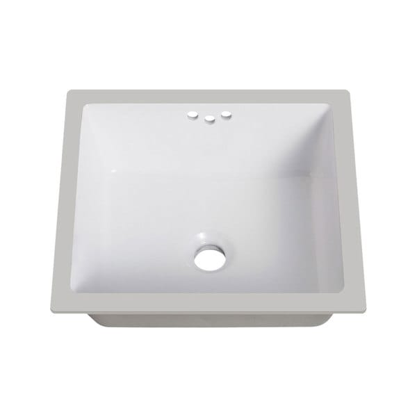 Lenova White Vitreous China Clay 16 Inch X 15 Inch Rectangle Bathroom Sink