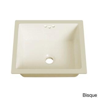 Lenova White Vitreous China Clay 16-inch x 15-inch Rectangle Bathroom Sink