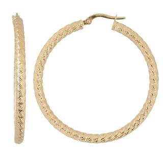 Fremada Italian Bold 14k Yellow Gold Round Hoop Earrings