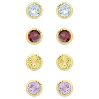 Dolce Giavonna Gold Over Sterling Silver 4-pair Gemstone Earring Set