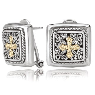 Avanti Sterling Silver and 18K Yellow Gold Square Design Cross Omega Clip Earrings