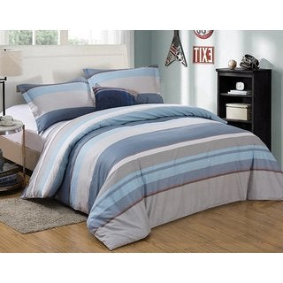 Word of Dream 100% Cotton Geometric Striped Print Duvet Cover 3 Piece Sets