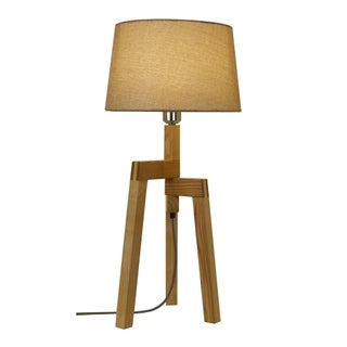 Light Society Conway Tan Wood/Linen Table Lamp