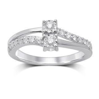 Unending Love 14-karat White Gold 1/3-carat Diamond 2-stone Fashion Ring