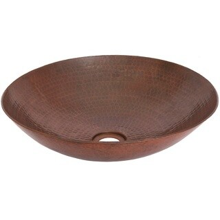 Unikwities 14 X 3.5 inch Round Vessel Copper Sink in Bronze Finish