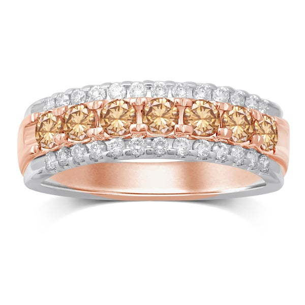 Unending Love 10k Two-tone Gold 1ct TDW Diamond 3-row Band