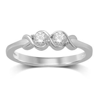 Unending Love 14-karat White Gold 1/4-carat Diamond 2-stone Fashion Band