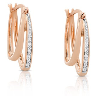 Finesque Gold Over Sterling Silver Diamond Accent Double Hoop Earrings (I-J, I2-I3)