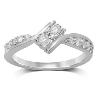 Unending Love 14k White Gold 1/3-carat TW I-J/I2 2-stone Diamond Fashion Ring