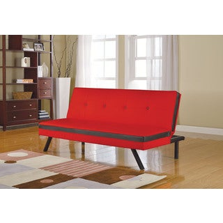 Penly Red/Black Faux Leather/Metal Adjustable Sofa