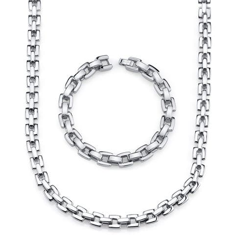 Men's Stainless Steel Bracelet and Necklace H-Link Set