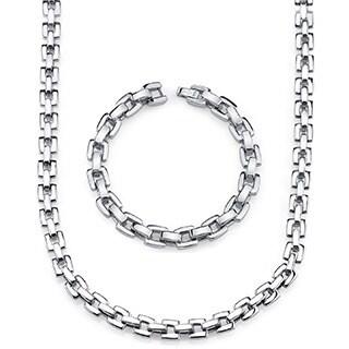 Men's Stainless Steel Bracelet and Necklace H-Link Set