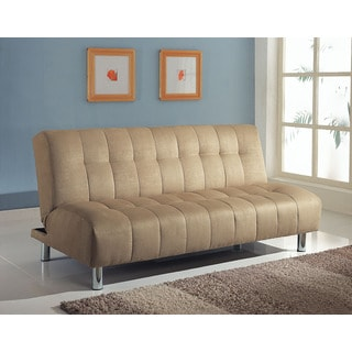 Sylvia Beige Microfiber/Wood/Metal Convertible Sofa