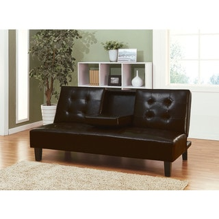 Barron Espresso Brown Faux-leather/Wood Adjustable Sofa