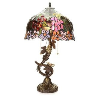 Clavelle Birch Stained Glass 24.5-inch Garden Table Lamp