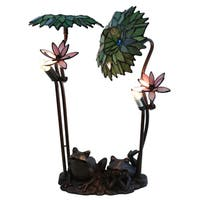 Roa Green Palms with Frog Tiffany-style 19-inch 2-light Table Lamp