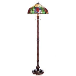 Tiffany Style Pypher Multicolor Stained Glass 62 Inch 2 Light Floor Lamp