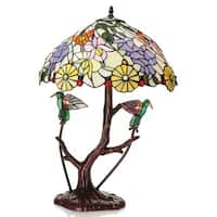 Shiyee Love Birds Stained Glass 26-inch 2-light Table Lamp