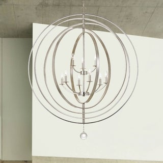 Crystorama Luna Collection 9-light Antique Silver Chandelier