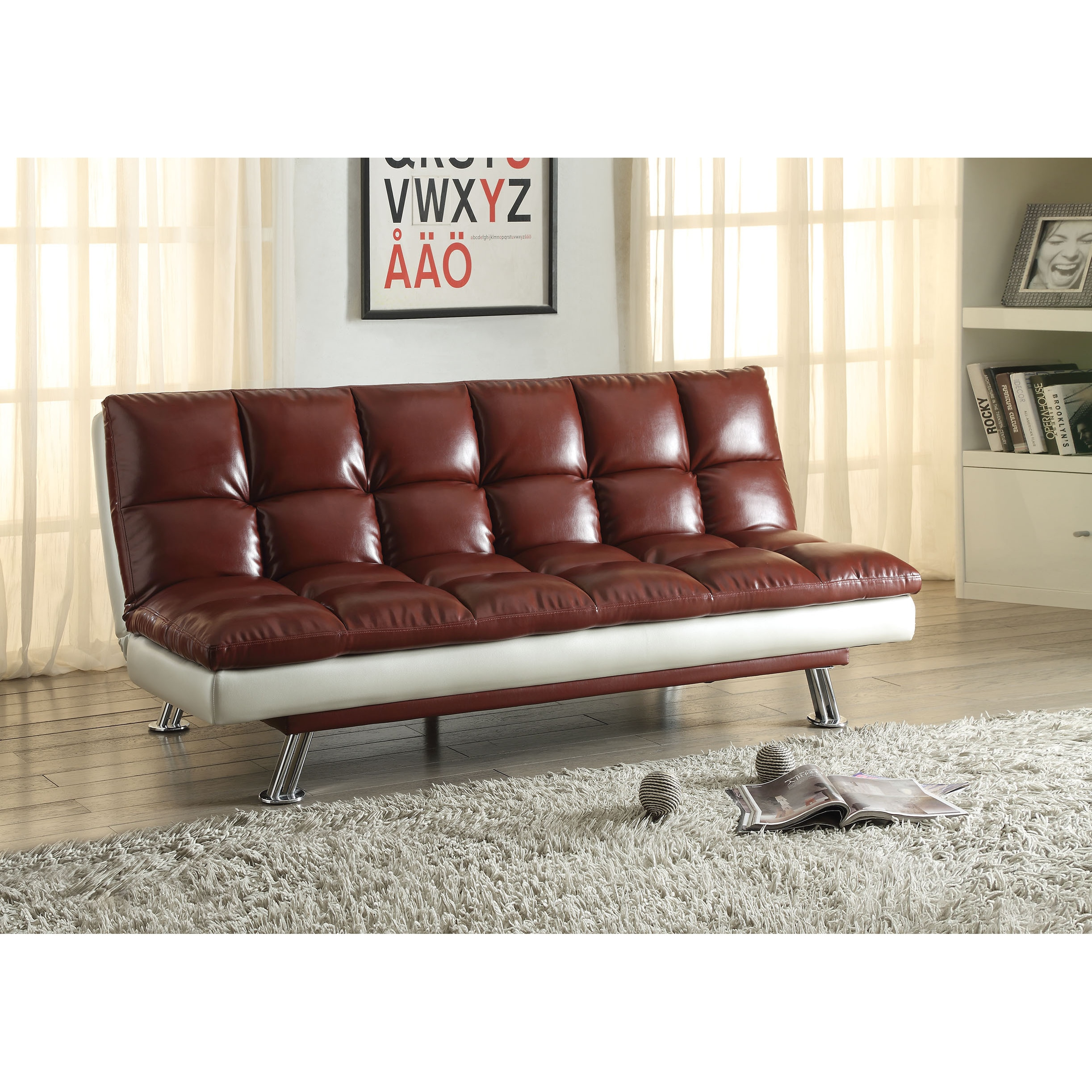 ACME Baka Red/Silver Faux Leather and Steel Adjustable So...