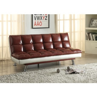Baka Red/Silver Faux Leather and Steel Adjustable Sofa Bed