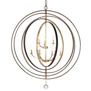 Crystorama Luna Collection 9-light English Bronze/Antique Gold Chandelier