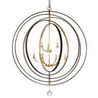 English Bronze/Antique Gold 9-light Chandelier