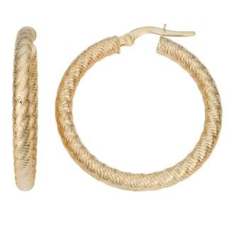 Fremada Italian 14k Yellow Gold 3x25-mm Diamond-cut Hoop Earrings
