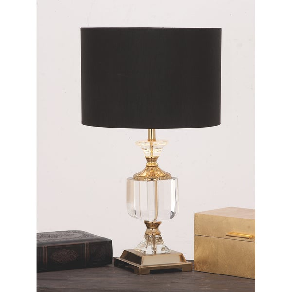 Urban designs black clear euro crystal and brass table lamp