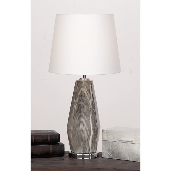 Urban Designs Diana Grey/Ivory Ceramic Glazed Diamond Shaped Table Lamp