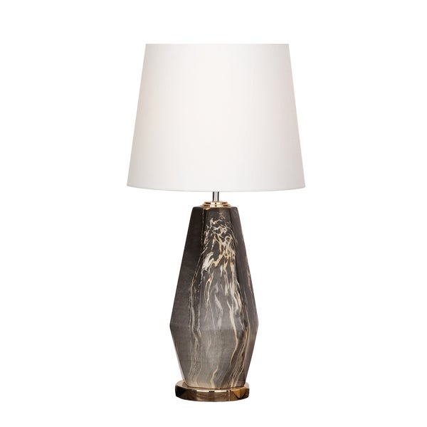 Urban Designs Daphnie Grey Ceramic Glazed Diamond Shaped Table Lamp