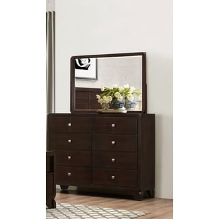 LYKE Home Phylis Merlot 8 Drawer Dresser And Mirror Set